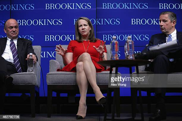 CEO of Editas Medicine Katrina Bosley speaks as President and CEO of PTC James Heppelmann and Chairman and CEO of Alcoa Klaus Kleinfeld listen during...