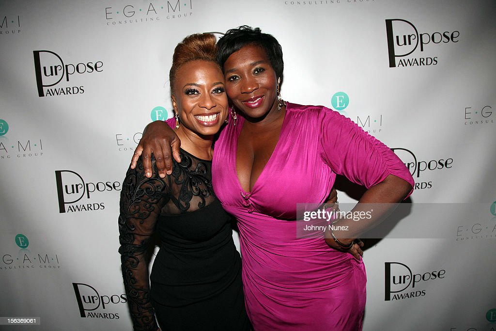 CEO of EGAMI Consulting Group and author Teneshia Jackson Warner and entrepreneur Bevy Smith attend the 2012 EGAMI Consulting Group Purpose Awards at Beauty & Essex on November 13, 2012 in New York City.