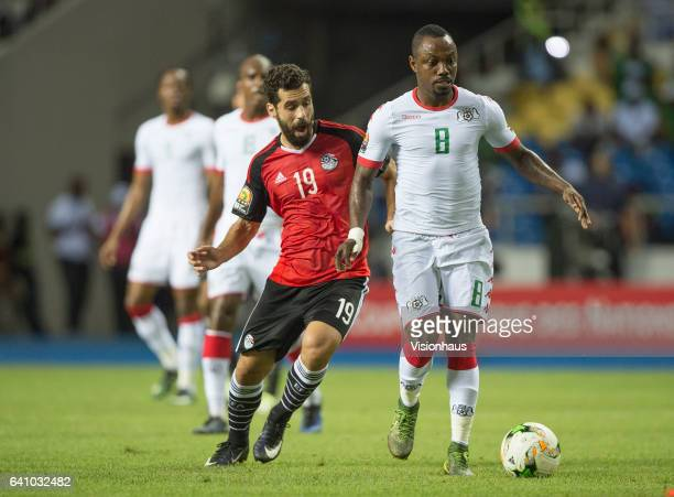 BEKHIT of Egypt and ABDOU RAZACK TRAORE of Burkina Faso during the semifinal match between Burkina Faso and Egypt at Stade de L'Amitie on February 01...