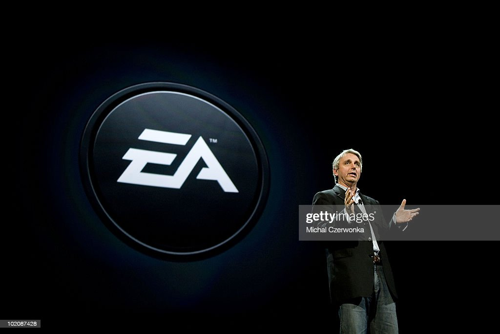CEO of Electronic Arts (EA Sports) John Riccitiello talks about new games at an EA press briefing ahead of the Electronic Entertainment Expo (E3) at the Orpheum Theater June 14, 2010 in Los Angeles, California. The annual video game trade conference and show at the Los Angeles Convention center runs from June 15-17.