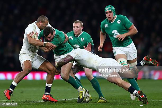 of England and Jack Nowell of England during the RBS Six Nations match between England and Ireland at Twickenham Stadium on February 27 2016 in...