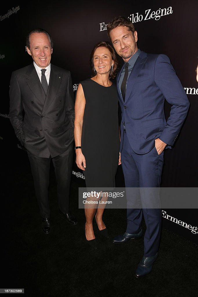 CEO of Ermenegildo Zegna Group Gildo Zegna, Image Director of Ermenegildo Zegna Group <a gi-track='captionPersonalityLinkClicked' href=/galleries/search?phrase=Anna+Zegna&family=editorial&specificpeople=3053409 ng-click='$event.stopPropagation()'>Anna Zegna</a>, and actor <a gi-track='captionPersonalityLinkClicked' href=/galleries/search?phrase=Gerard+Butler+-+Actor&family=editorial&specificpeople=202258 ng-click='$event.stopPropagation()'>Gerard Butler</a> attend Ermenegildo Zegna Global Store Opening hosted by Gildo Zegna and Stefano Pilati at Ermenegildo Zegna Boutique on November 7, 2013 in Beverly Hills, California.