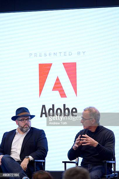 VP of Experience Marketing at Adobe Alex Amado and President CEO OF The Jim Stengel Company Jim Stengel speaks onstage at the Your Burning Marketing...