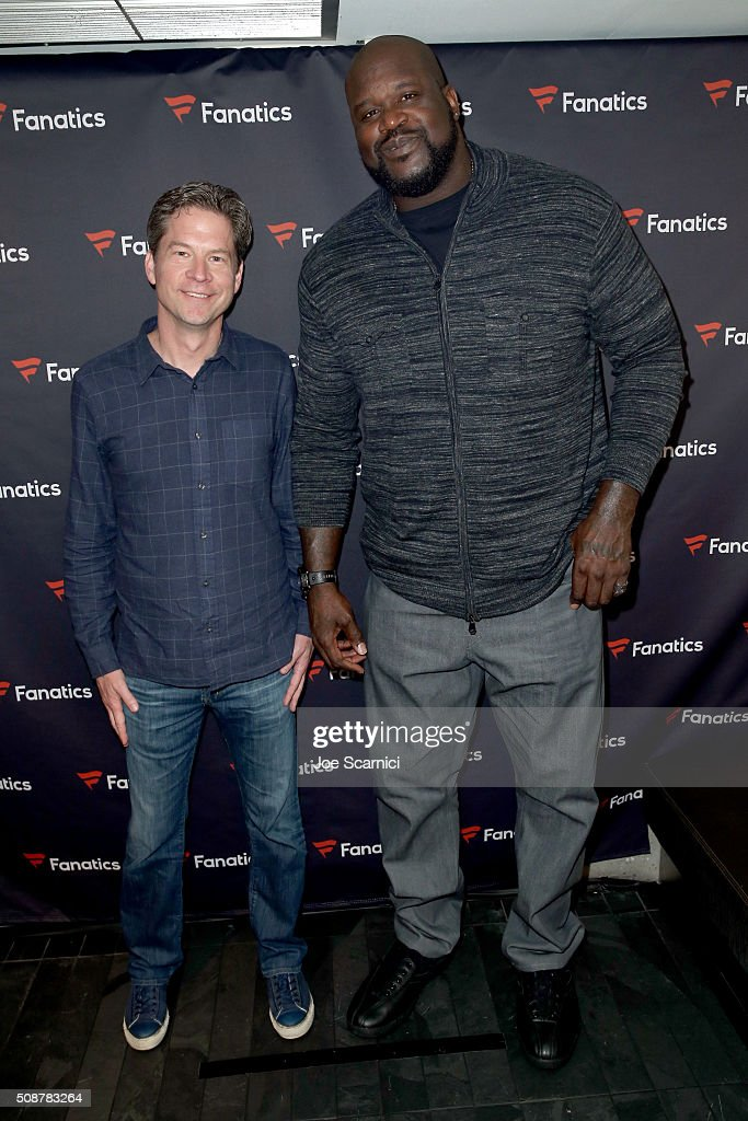 CEO of Fanatics Doug Mack and former NFL player <a gi-track='captionPersonalityLinkClicked' href=/galleries/search?phrase=Shaquille+O%27Neal&family=editorial&specificpeople=201463 ng-click='$event.stopPropagation()'>Shaquille O'Neal</a> attend the Fanatics Super Bowl Party on February 6, 2016 in San Francisco, California.
