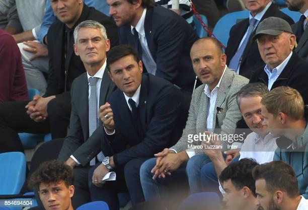 CEO of FC Internazionale Alessandro Antonello Vice President of FC Internazionale Javier Zanetti and Sportif Director of FC Internazionale Milano...