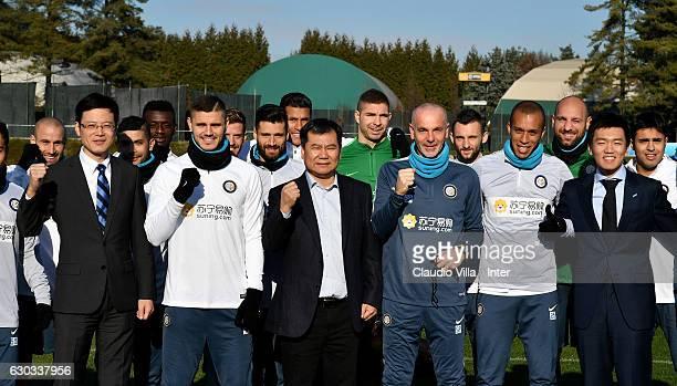 CEO of FC Internazionale Milano Jun Liu Mauro Icardi of FC Internazionale Chairman of Suning holdings group Zhang Jindong Head coach FC...