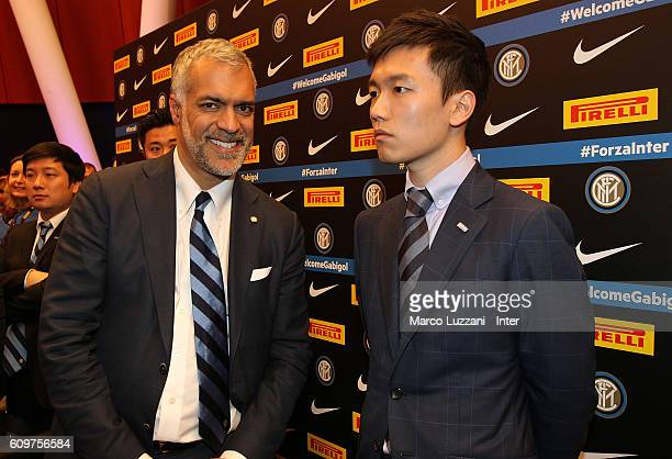 CEO of FC Internazionale Milano Michael Bolingbroke and Steven Zhang during a press conference at 'Auditorium Pirelli' on September 22 2016 in Milan...