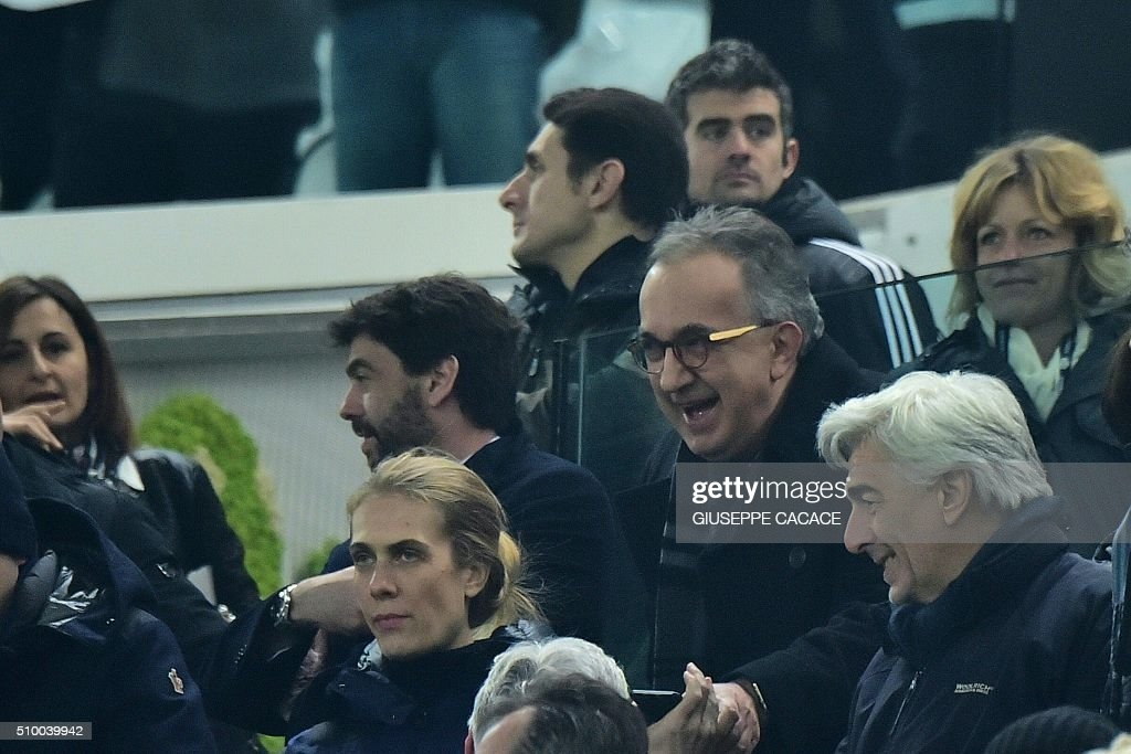 CEO of FCA group Sergio Marchionne attends the Italian Serie A football match Juventus Vs Napoli on February 13, 2016 at the 'Juventus Stadium' in Turin. / AFP / GIUSEPPE CACACE