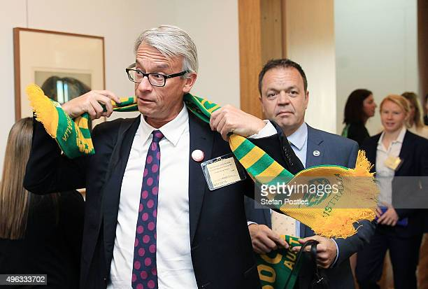 CEO of FFA David Gallop arrives for an Australian Socceroos visit to Parliament House on November 9 2015 in Canberra Australia