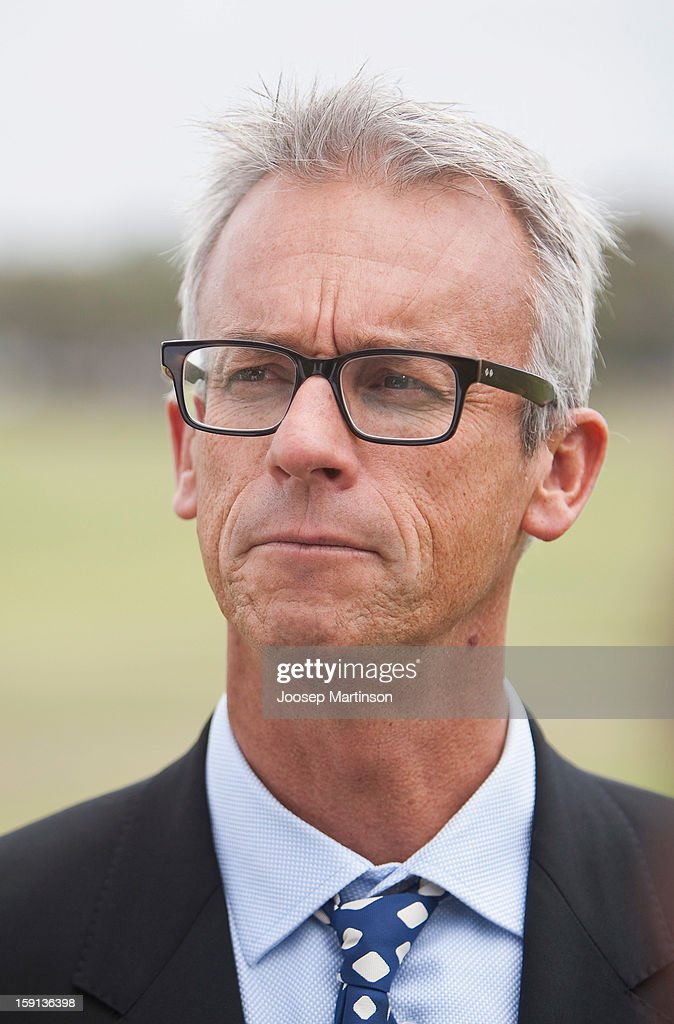 CEO of FFA <a gi-track='captionPersonalityLinkClicked' href=/galleries/search?phrase=David+Gallop&family=editorial&specificpeople=579322 ng-click='$event.stopPropagation()'>David Gallop</a> looks on during a press conference at Queen's Park on January 9, 2013 in Sydney, Australia. Today marks two years until the 2015 Asian Cup held in Australia.