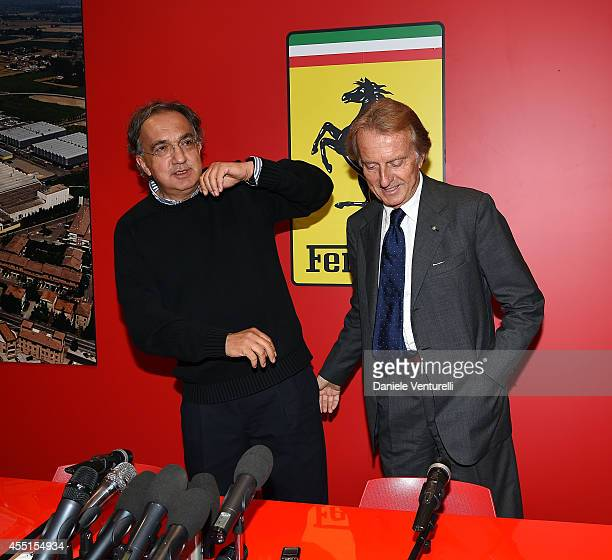 CEO of FIAT and CEO of Chrysler Sergio Marchionne and Luca Cordero di Montezemolo attend the Ferrari Press Conference on September 10 2014 in...