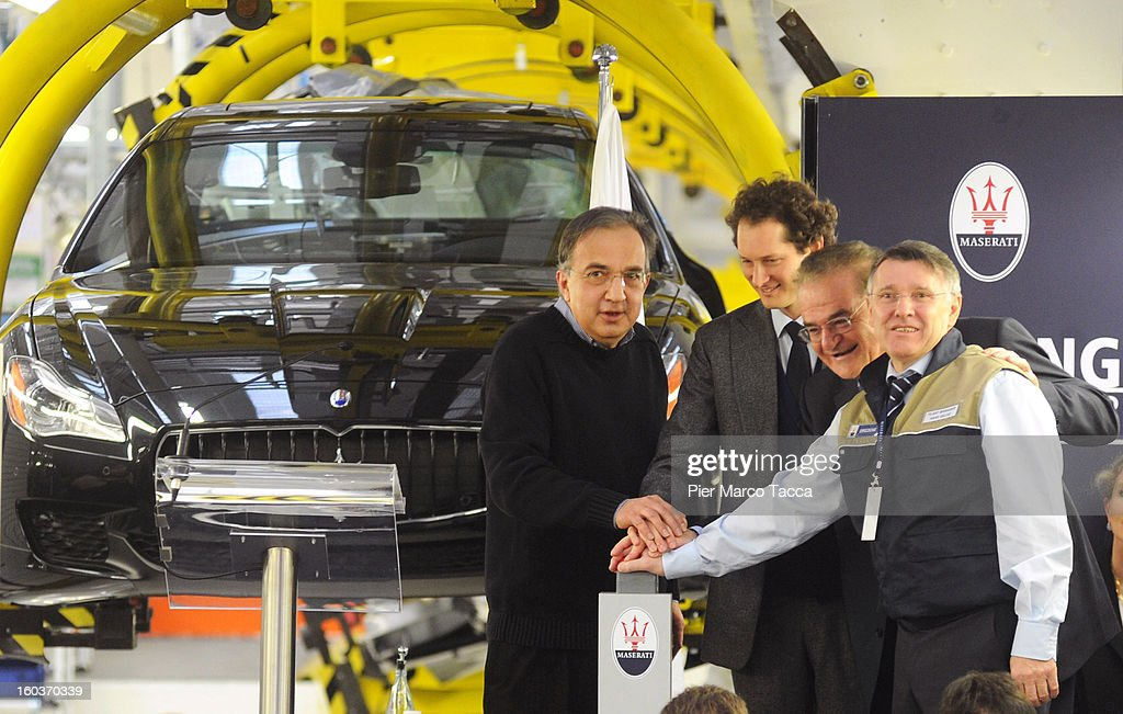 CEO of FIAT group Sergio Marchionne, President of FIAT John Elkann and CEO of Maserati Luigi Galante during the unveiling of the new Maserati plant in Grugliasco, which has been dedicated to Gianni Agnelli on January 30, 2013 in Turin, Italy. The new plant near the company's headquarters in Turin will produce Maserati's new model of luxury saloon cars, the Quattroporte.