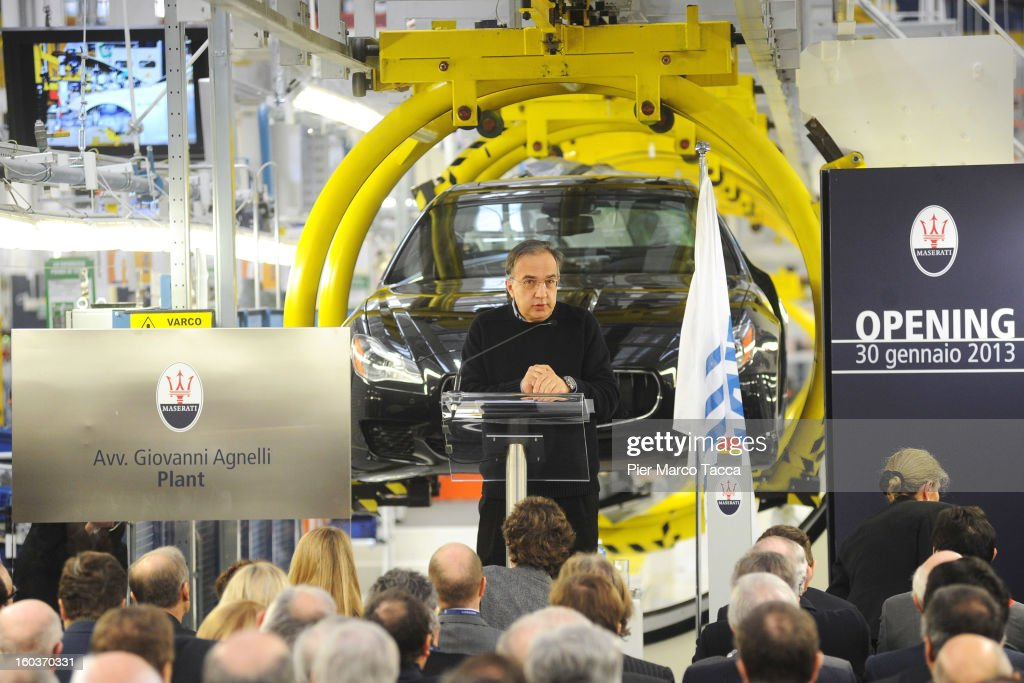 CEO of FIAT group <a gi-track='captionPersonalityLinkClicked' href=/galleries/search?phrase=Sergio+Marchionne&family=editorial&specificpeople=608333 ng-click='$event.stopPropagation()'>Sergio Marchionne</a> speaks during the unveiling of the new Maserati plant in Grugliasco, which has been dedicated to Gianni Agnelli on January 30, 2013 in Turin, Italy. The new plant near the company's headquarters in Turin will produce Maserati's new model of luxury saloon cars, the Quattroporte.