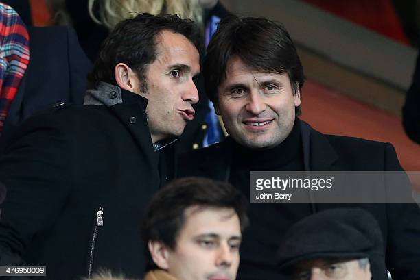 CEO of Fnac Alexandre Bompard and former tennis champion Fabrice Santoro attend the Ligue 1 match between Paris SaintGermain FC and Olympique de...