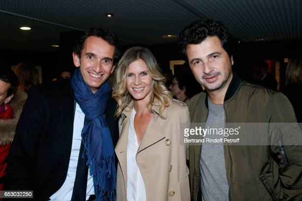CEO of Fnac Alexandre Bompard Sarah Lelouch and David Marouani attend the 'Chacun sa vie' Paris Premiere at Cinema UGC Normandie on March 13 2017 in...