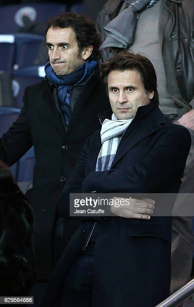 CEO of FNAC and Darty Alexandre Bompard and Fabrice Santoro attend the French Ligue 1 match between Paris Saint Germain and OGC Nice at Parc des...