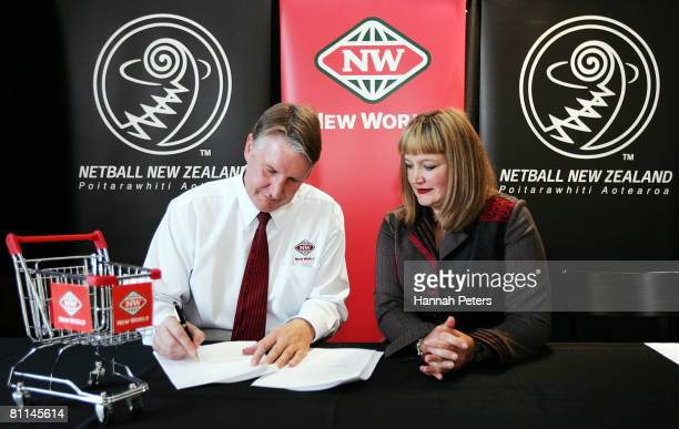 CEO of Foodstuffs South Island Steve Anderson and New Zealand Netball CEO Raelene Castle sign a new sponsorship agreement after a Netball New Zealand...