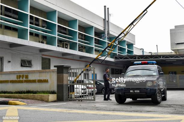 A SUV of forensics Kuala Lumpur pictured in front of the forensics wing of the Hospital Kuala Lumpur on March 28 where the body of Kim JongNam...