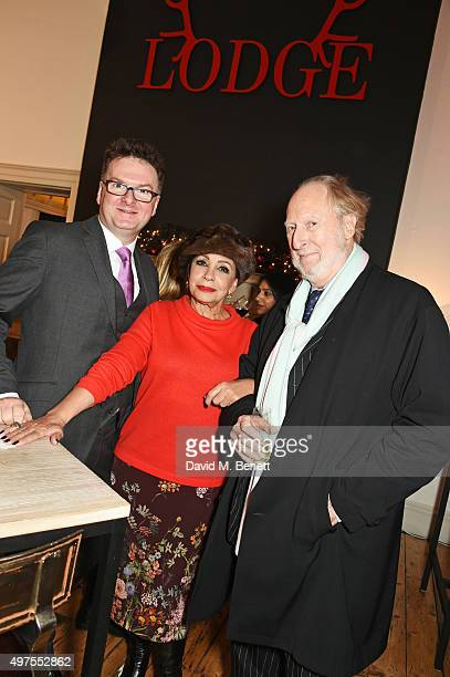CEO of Fortnum Mason Ewan Venters Dame Shirley Bassey and Ed Victor attend the opening party of Skate at Somerset House with Fortnum Mason at...