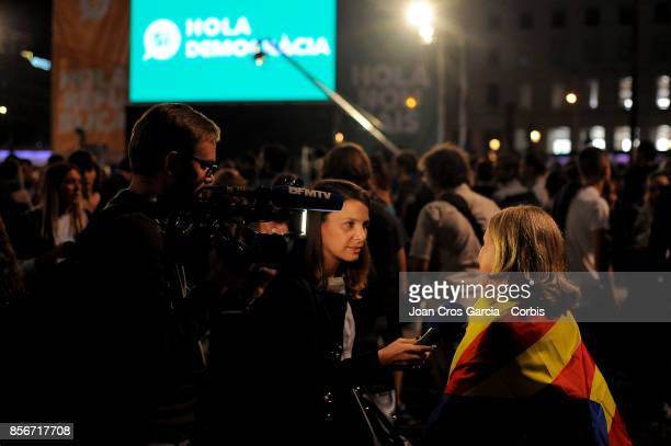 BFMTV of France interview a independentist woman during the Catalonia independence referendum declared ilegal by the Spanish government on October 1...