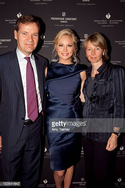 CEO of Frederique Constant Peter Stas Candice Accola and COO of Frederique Constant Aletta Stas attend Frederique Constant's Passion Awards at...