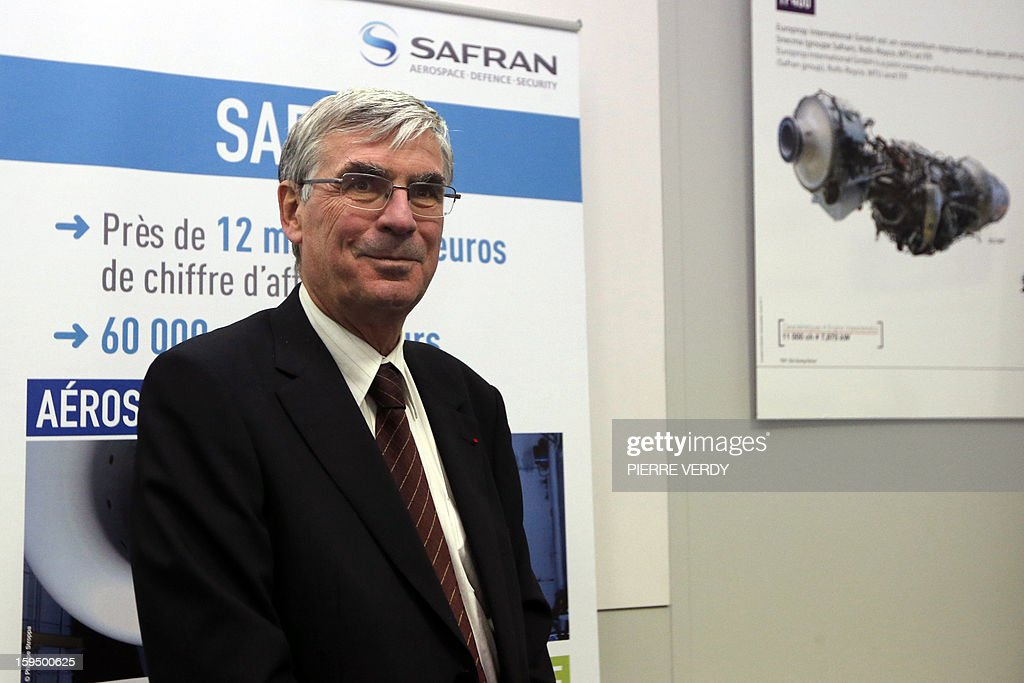CEO of French aerospace and defence group Safran, Jean-Paul Herteman poses during a visit, on January 14, 2012 at the Safran / Snecma plant in Gennevilliers, near Paris.