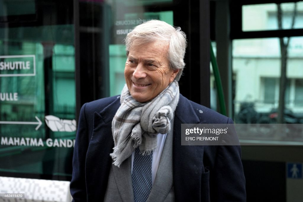 CEO of French industrial group Bollore, Vincent Bollore, arrives to hold a press conference on Autolib, a French electric car pick-up service, and Bluesolutions, Bollore's subsidiaries for electricity storage, on January 28, 2015 in Paris.