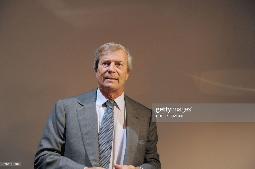 CEO of French industrial group Bollore, Vincent Bollore, holds a press conference on Autolib, a French electric car pick-up service, and Bluesolutions, Bollore's subsidiaries for electricity storage, on January 28, 2015 in Paris.