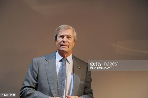 CEO of French industrial group Bollore Vincent Bollore holds a press conference on Autolib a French electric car pickup service and Bluesolutions...