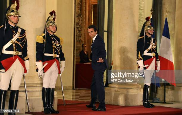 CEO of French supermarket group Carrefour Alexandre Bompard arrives for a state dinner for Lebanon's President at the Elysee Presidential Palace in...