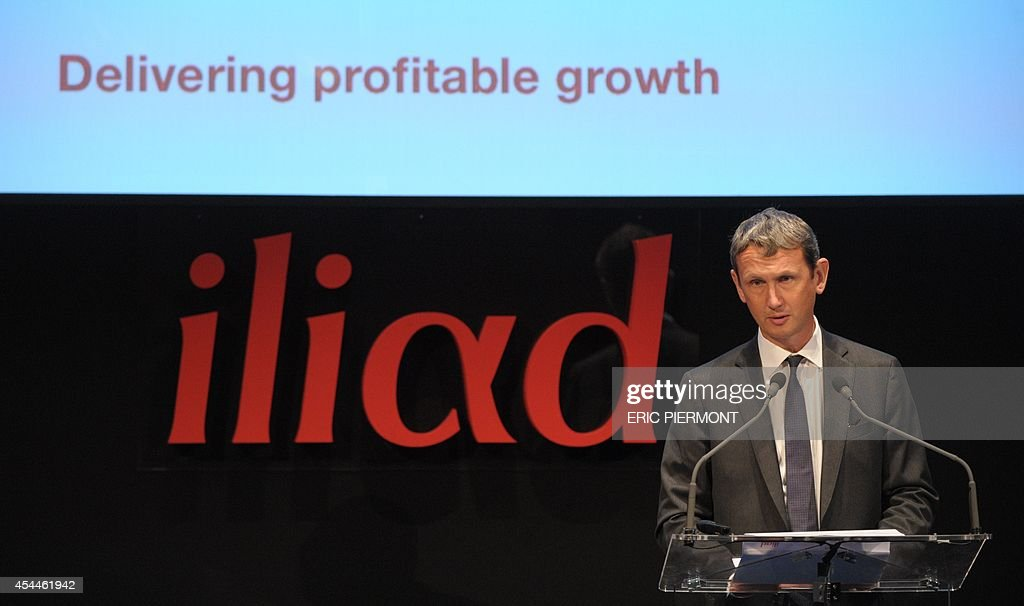 CEO of French telecom group Iliad Maxime Lombardini talks during a press conference to present the group's 2014 first half results, in Paris on September 1, 2014 AFP PHOTO ERIC PIERMONT