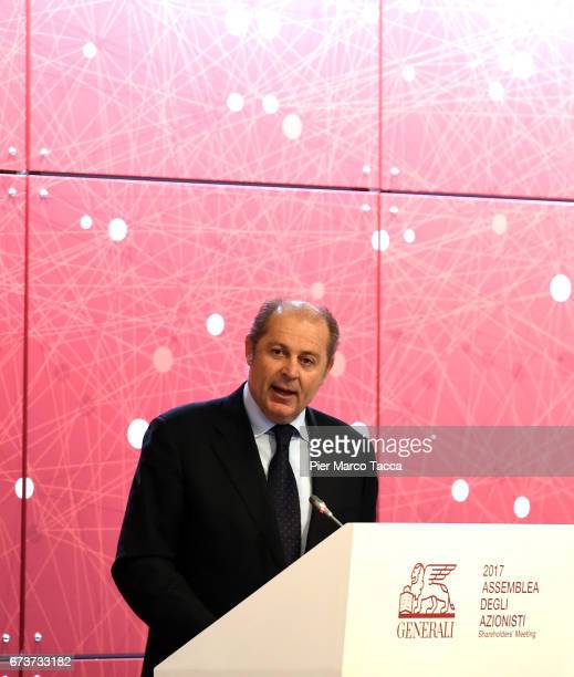CEO of Generali Group Philippe Roger Donnet speaks during the Generali shareholders' meeting 2017 on April 27 2017 in Trieste ItalyThe Assicurazioni...