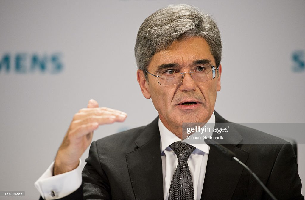 CEO of German engineering giant Siemens AG, Joe Kaeser gestues during Siemens annual press conference on November 7, 2013 in Berlin, Germany. German engineering giant Siemens said Thursday it expects to book a further increase in bottom-line earnings in 2014 after achieving its targets this year.