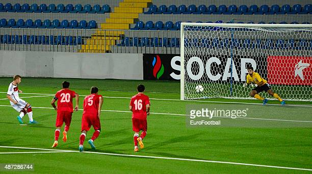 MEYER of Germany fails to score a penalty during the 2017 UEFA European U21 Championships Qualifier between Azerbaijan and Germany at Dalga Stadium...