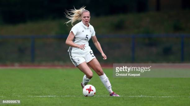 of Germany runs with the ball during the UEFA Under19 Women's Euro Qualifier match between Germany and Iceland at Stadium Wedau III on September 18...