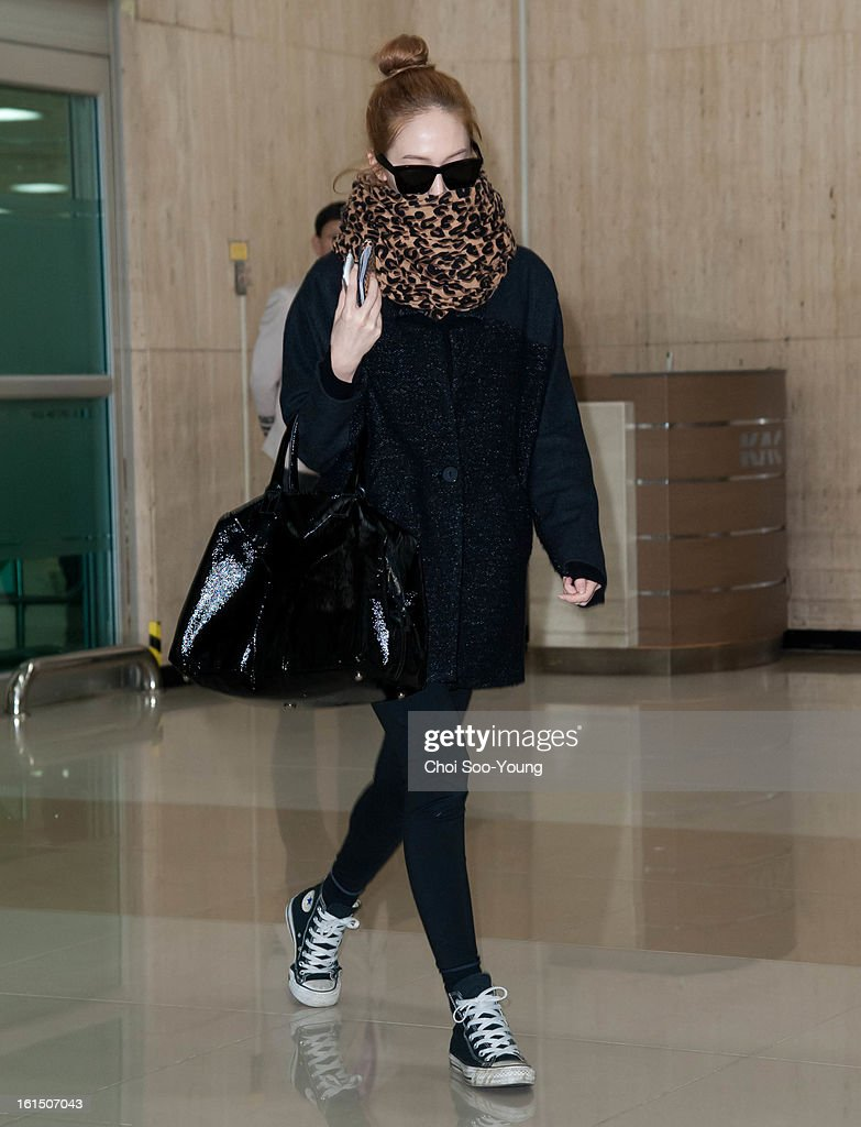 JESSICA of Girls' Generation is seen at Gimpo International Airport on February 11, 2013 in Seoul, South Korea.
