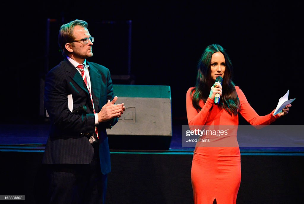 CEO of Global Green Matt Petersen and Catt Sadler speak on stage during Global Green USA's 10th Annual Pre-Oscar Party at Avalon on February 20, 2013 in Hollywood, California.