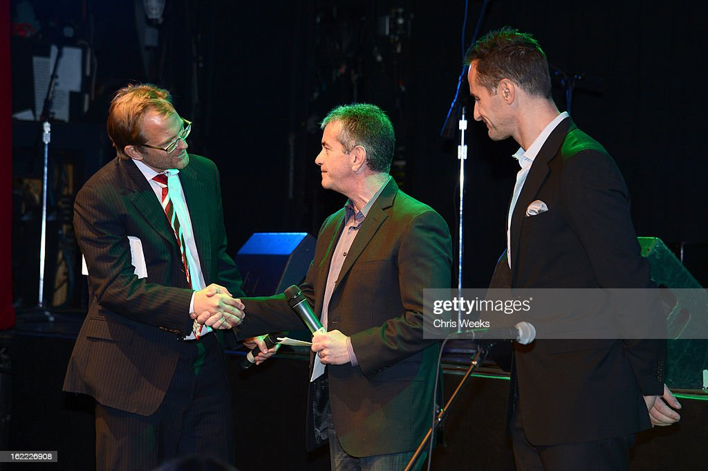 CEO of Global Green Matt Petersen, GM Group Manager, Policy and Product Dave Barthmuss and Global Green Co-Founder Sebastian Copeland stand on stage during Global Green USA's 10th Annual Pre-Oscar Party at Avalon on February 20, 2013 in Hollywood, California.
