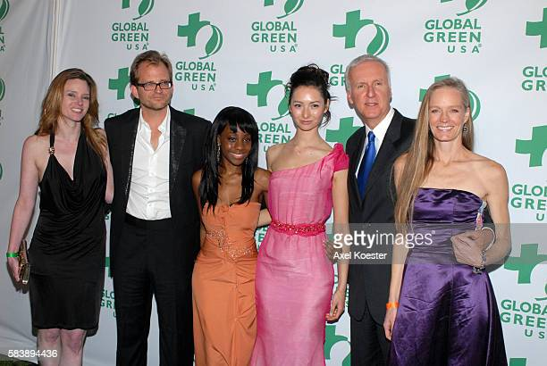 CEO of Global Green Matt Petersen left and producer/director James Cameron and actress Suzy Amis arrive to Global Green's 8th Annual PreOscar Party...