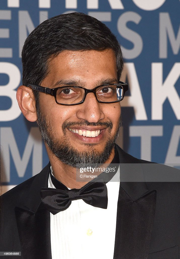 CEO of Google, Inc., <a gi-track='captionPersonalityLinkClicked' href=/galleries/search?phrase=Sundar+Pichai&family=editorial&specificpeople=7768399 ng-click='$event.stopPropagation()'>Sundar Pichai</a> arrives at the 3rd Annual Breakthrough Prize Award Ceremony at NASA Ames Research Center on November 8, 2015 in Mountain View, California.