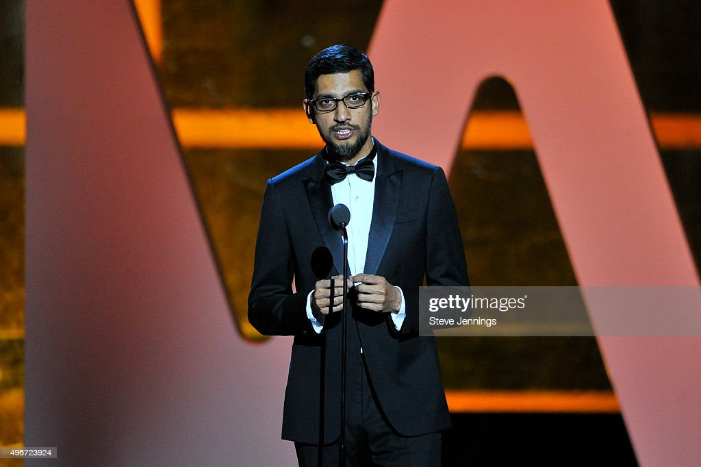 CEO of Google, Inc., <a gi-track='captionPersonalityLinkClicked' href=/galleries/search?phrase=Sundar+Pichai&family=editorial&specificpeople=7768399 ng-click='$event.stopPropagation()'>Sundar Pichai</a> speaks onstage during the 2016 Breakthrough Prize Ceremony on November 8, 2015 in Mountain View, California.