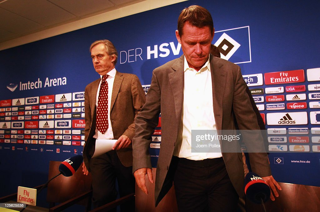 CEO of Hamburger SV CarlEdgar Jarchow and sport director Frank Arnesen attend a press conference after a Hamburger SV training session on September...