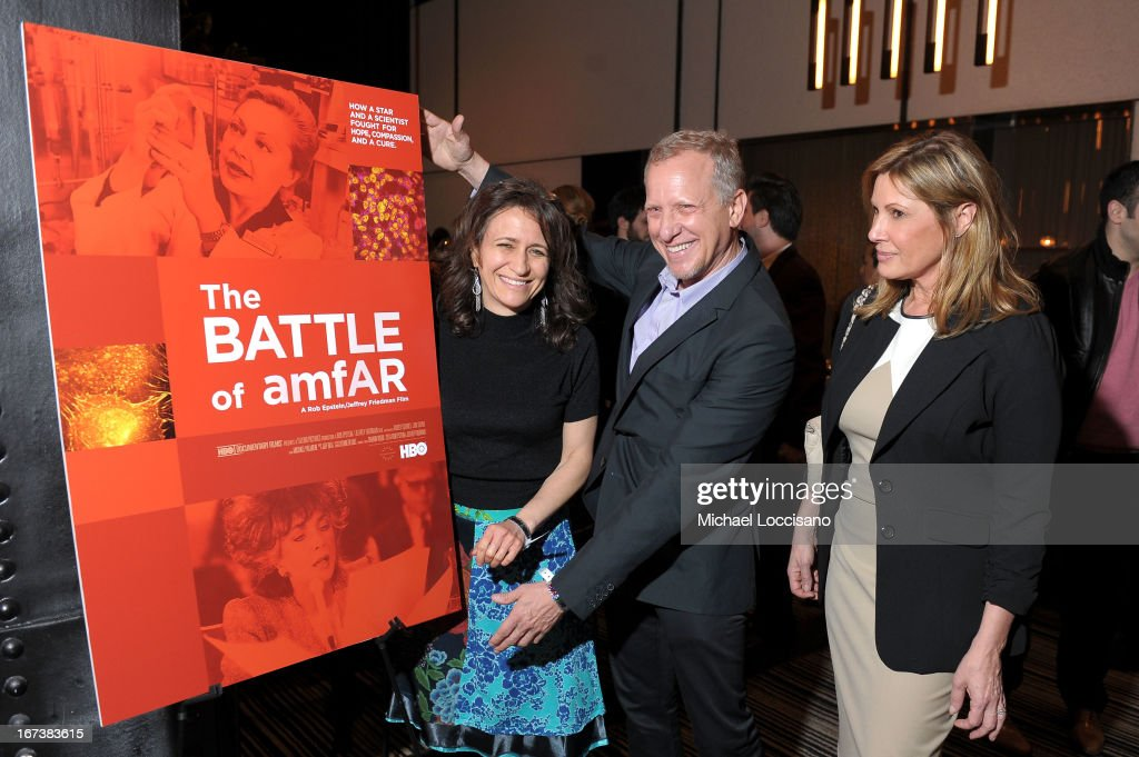 SVP of HBO Documentary Films Lisa Heller, Rob Epstein and Maria Cuomo Cole attend HBO's 'The Battle of amfAR' premiere at Tribeca Film Festival on April 24, 2013 in New York City.