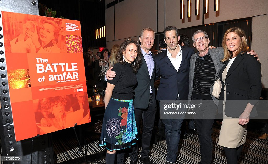 SVP of HBO Documentary Films Lisa Heller, <a gi-track='captionPersonalityLinkClicked' href=/galleries/search?phrase=Rob+Epstein&family=editorial&specificpeople=2669345 ng-click='$event.stopPropagation()'>Rob Epstein</a>, designer Kenneth Cole, Jeffrey Friedman and Maria Cuomo Cole attend HBO's 'The Battle of amfAR' premiere at Tribeca Film Festival on April 24, 2013 in New York City.