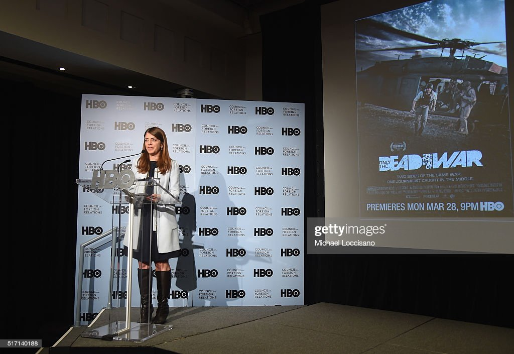 SVP of HBO Documentary Films Nancy Abraham introduces the NYC screening of the HBO Documentary Film 'ONLY THE DEAD SEE THE END OF WAR' on March 23, 2016 in New York City.
