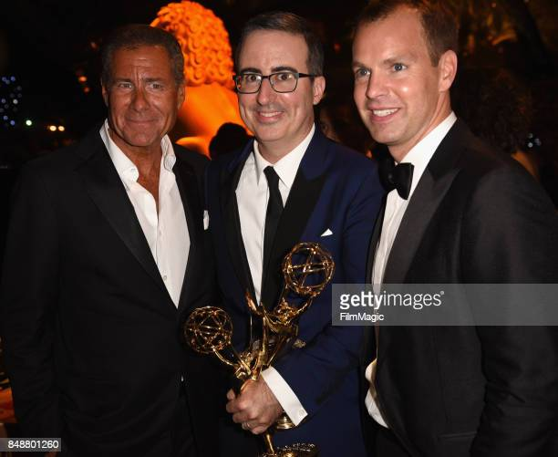 CEO of HBO Richard Plepler John Oliver and President of HBO Programming Casey Bloys attend the HBO's Official 2017 Emmy After Party at The Plaza at...