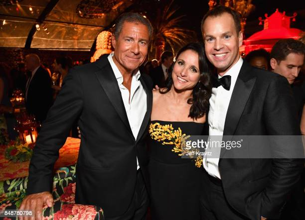CEO of HBO Richard Plepler Julia LouisDreyfus and President of HBO Programming Casey Bloys attend the HBO's Official 2017 Emmy After Party at The...
