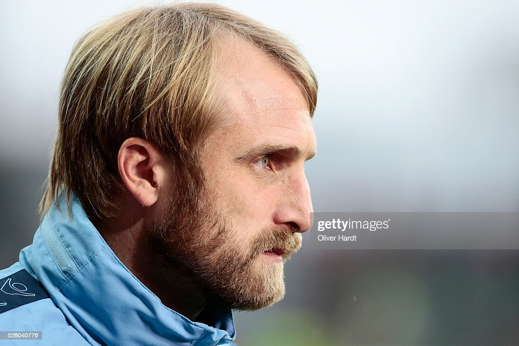 of Head coach Daniel Bierofka of Muenchen looks on prior to the Second Bundesliga match between FC St. Pauli and 1860 Muenchen at Millerntor Stadium on April 29, 2016 in Hamburg, Germany.