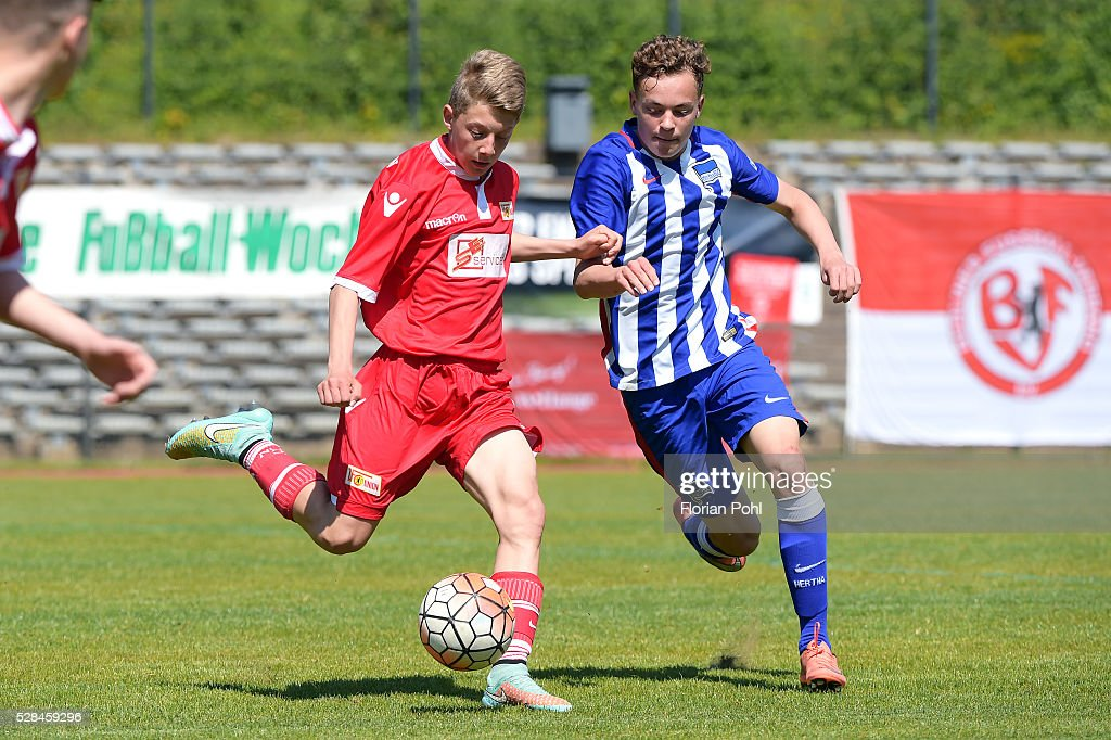 of Hertha BSC During the C-juniors cup match between 1 FC Union Berlin and Hertha BSC on May 5, 2016 in Berlin, Germany.
