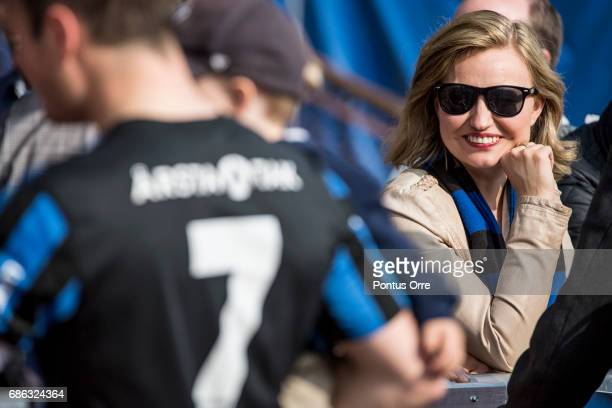 of IK Sirius FKs Niklas Busch Thors wife Ebba Busch Thor leader of the Swedish political party Christian Democrats after the Allsvenskan match...